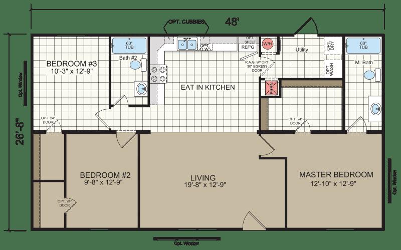 double wide mobile home floor plan