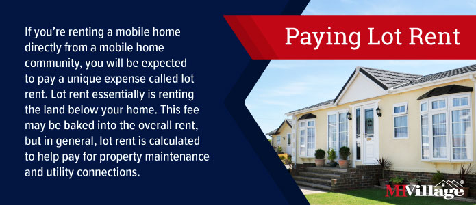 Paying lot rent renting a mobile home information