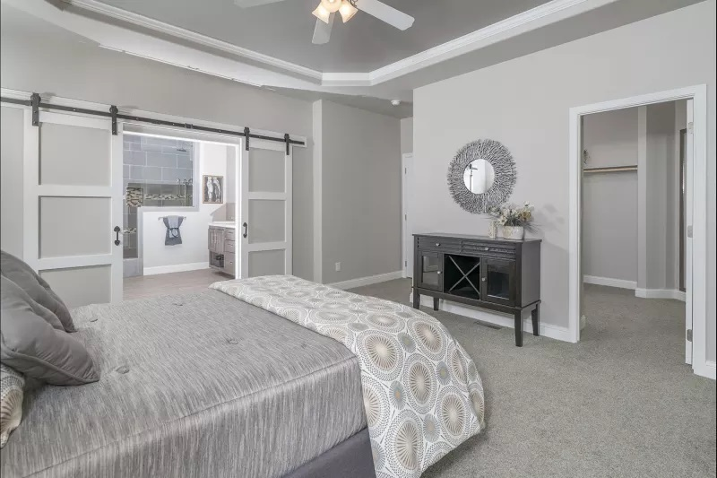 3 bedroom mobile home farmhouse style bedroom