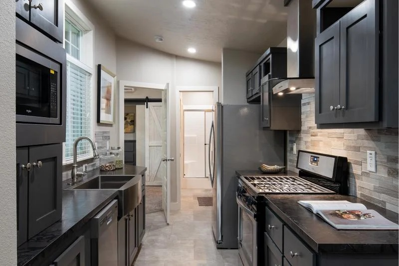 One bedroom mobile home kitchen
