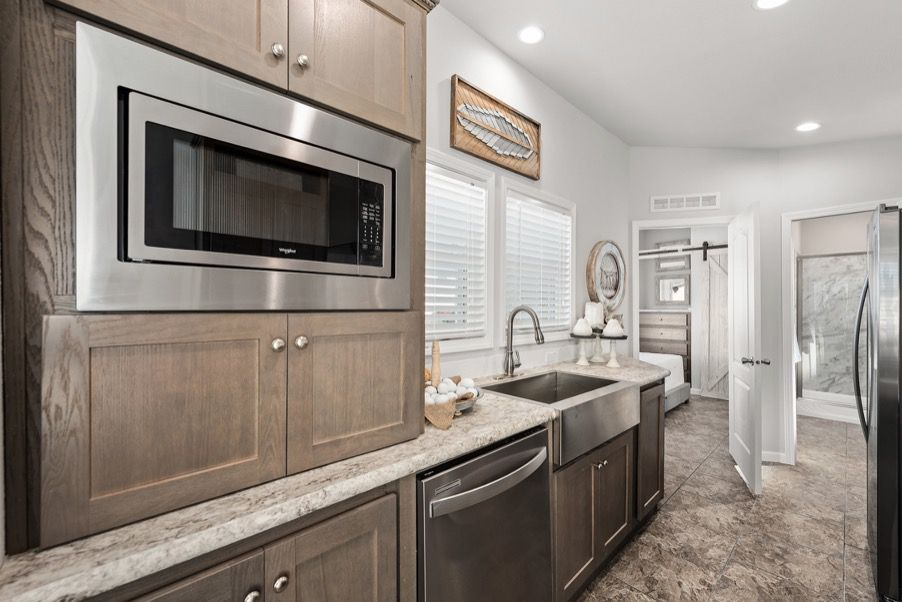 one bedroom park model home kitchen area