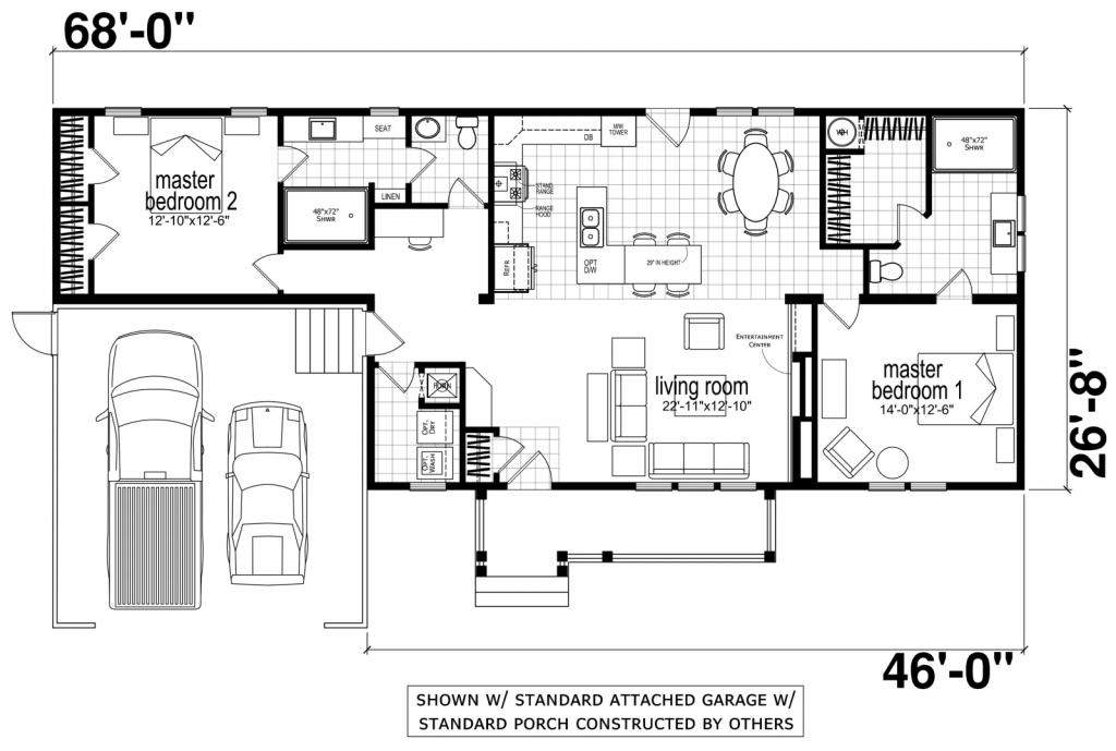Ranch style modular home floor plan